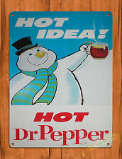"TIN-UPS TIN SIGN ""Dr Pepper Hot Idea"" Christmas Cola Snowman Wall Decor"