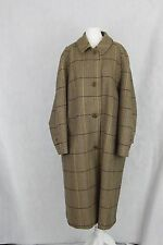 Grenfell womens long brown check wool coat size 36 great condition