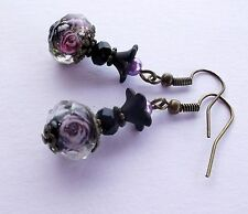 Black Purple Lampwork Lucite Flowers Purple Pearls Victorian Style Drop Earrings