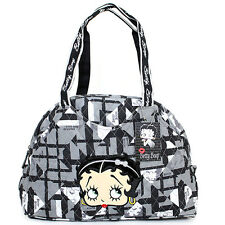 Betty Boop Quilted Diaper Bag Hand Bag  with Pad - Black Checkered Cotton