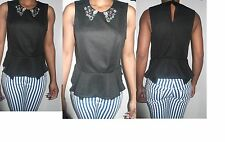 women ladies black topshop jewel embellish peplum collar sleeveless op uk 14