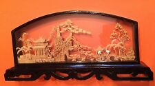 Chinese Landscape Diorama Cork Sculpture Shadow Box 13-3/4 Inch Beautifully Made