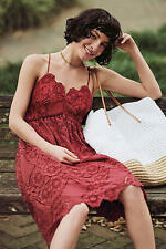 NWT Anthropologie Maeve Summer Moon Lace Dress Sz 10 Red