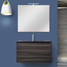 Mobile cm 80 effetto legno rovere scuro con top nero effetto pietra e specchiera