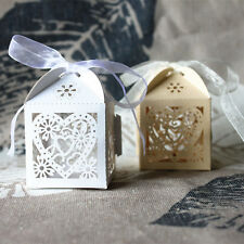 10pcs/lot Love Heart Candy Gift Boxes Wedding Favor With Ribbon Sweet Decorative