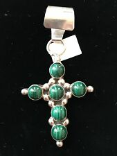Pendant, Cross Malachite Sterling Silver 925 Artist Lena Platera Signed