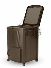 NEW Suncast Resin Wicker Cooler with Tower Bar Outdoor Patio Ice Chest 72 Can