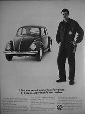 PUBLICITÉ 1969 VOLKSWAGEN COCCINELLE UNE SEMAINE POUR UNE VOITURE - ADVERTISING