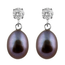 15pts CZ earrings with 7-7½mm black freshwater pearls, 14k white gold HOF-28
