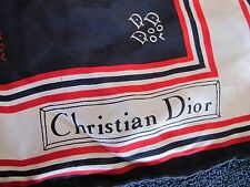 CHRISTIAN DIOR VINTAGE SILK SCARF RED WHITE BLUE LOGO PRINT