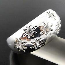 A130 GENUINE REAL 925 STERLING SILVER S/F LADIES DIAMOND SIMULATED BAND RING US7