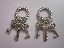2 x antique silver lucky 3 keys charms gift  health wealth love good luck symbol