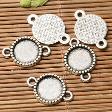 30pcs dark silver color round cabochon setting in 10mm connector design  EF3301