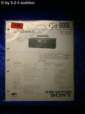 Sony Service Manual CFD 600L Cassette Corder (#0345)