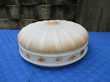 Antique Light Shade Victorian LARGE Embossed Satin Glass White Browm Accents