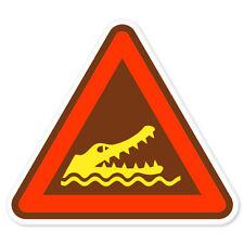 """Warning Crocodiles car bumper sticker decal 4"""" x 4"""""""