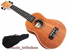 "Great Sound 21"" Mahogany with Ivory Inlaid Wooden Soprano Ukulele & Carrying Bag"