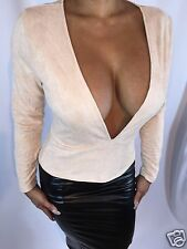 Sexy Golden Beige Faux Suede Long Sleeved Blouse Extreme Deep Plunge Top S