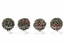 Lemax 44087 ROUND EVERGREEN TREES 4 Christmas Village Retired S O Train Bushes R