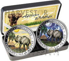 2017 SOMALIA ELEPHANT DAY AND NIGHT 2-COIN SET - 2 X 1 OZ. COINS - ONLY 500 MADE