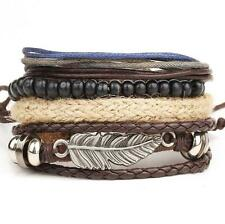 New Men's Braided Leather Stainless Steel Cuff Bangle Bracelet Wristband
