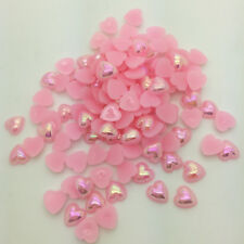 DIY 100pcs 8mm Heart-Shaped Pearl Bead Flat Back Scrapbook For Craft Light Pink