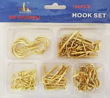 200pcs Brass Screw Hook Eye for Curtain Net Wire Hook Spiral Cup Hanging Light