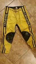 Vintage Motocross Suzuki Racing Leather Moto X Pants AHRMA Size 38 Factory Works