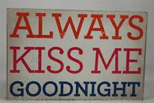 Wooden Word Block 'Always Kiss Me Goodnight' by About Face Designs Hang/Set NEW!
