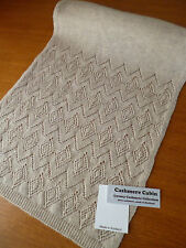 Cashmere scarf beige / natural lacy gauze pattern womens ladies NEW Johnstons