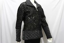 Chanel Women Silver Sparkling Black Cocktail Coat Jacket Long Sleeve Zipper M 42