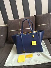 FENDI 3JOURS TOTE blue SAFFIANO BAG.L.100%auth.Serial number.BRAND NEW.HOLOGRAM