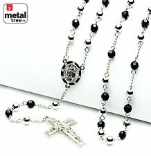 """Silver Balck Bead Guadalupe & Jesus Cross 28"""" Rosary Necklace Chain HR 600 SSBK"""