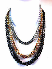 ELEGANT SILVER GOLD BLACK CHNKY CHAIN NECKLACE THICK HEAVY UNIQUE BRAND NEW(CL5)