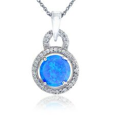 Sterling Silver Lab Created Blue Opal & Cubic Zirconia Round Necklace
