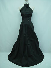 Cherlone Black Halterneck Ballgown Wedding Evening Bridesmaid Formal Dress 16-18