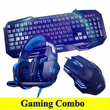 ARES K3 3 LED Illuminated Gaming Keyboard G2000 Blue Headset 3200DPI Mouse Combo