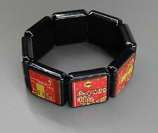 """SteamTronix - """"Asian"""" Circuit Board Bracelet (stretch,red,black,square,collage"""