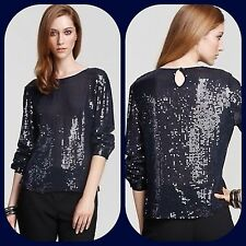 new $375 dkny donna karan navy sequin dress blouse holiday shirt top S