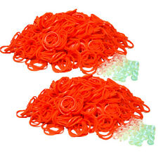 Qty 1200 LOOM RUBBER BAND ALL ORANGE REFILL & 50 S-CLIPS for Rainbow US SHIPPER!