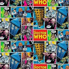 Fat Quarter Doctor Who Comic Strip 100% Cotton Quilting Fabric