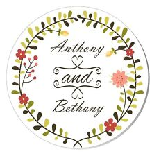 20 Personalised Floral Wedding Stickers Labels for Favour Decorations SC0103