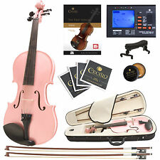 Cecilio 4/4 Ebony Fitted Solidwood Violin Metallic Pink +Tuner+Book/Audio/Video