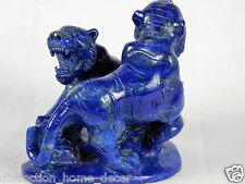 lapis lazuli Blue Gemstone Crystal Fools Gold Pyrite Hand Carved Tigers Rare AAA