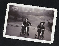 Vintage Photograph Two Little Girls Riding Old Time Tricycles / Bicycles / Bikes