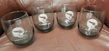 Set of 4 Minnesota Vikings football NFL 12 ounce smoked glasses vintage