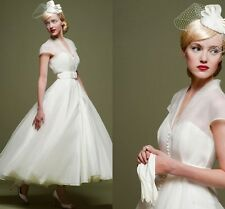 1950S Vintage Organza Beach Wedding Dresses Covered Button Bridal Gowns