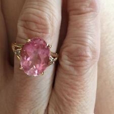14k pink sapphire ring with diamond accents 14k  Gold Ring