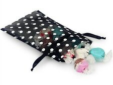 "4"" x 6"" Black Organza Bags with White Polka Dots (10)"