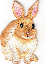 BUNNY w/PINK EARS - RABBIT - FOREST ANIMALS - PETS/Iron On Embroidered Patch